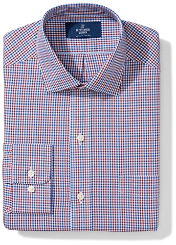 BUTTONED DOWN Men's Fitted Spread Collar Pattern, Red/Brown/Blue Check, 14.5
