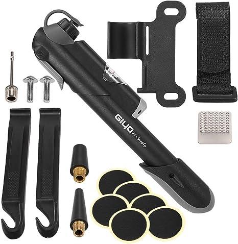 Lixada Mini Bomba de Bicicleta con Manómetro y Kit de Reparación de Pinchazos para Válvula de Presta y Schrader 120PSI: Amazon.es: Deportes y aire libre