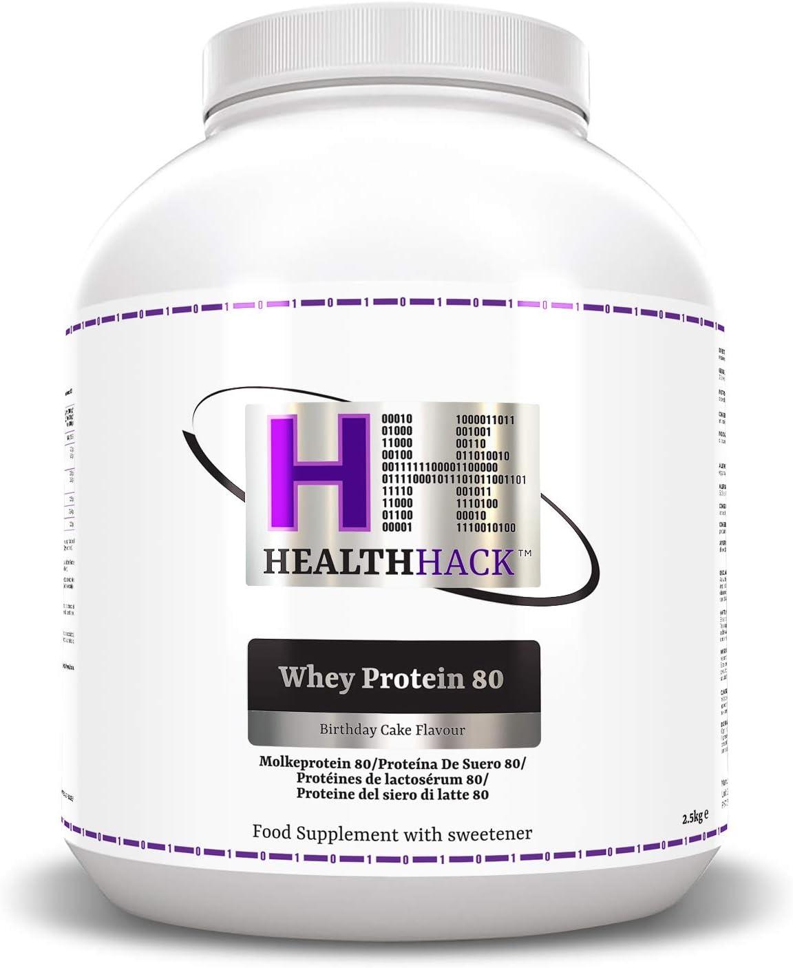 Health Hack - Proteína de suero de leche 80 %, 2,5 kg, tarta de cumpleaños