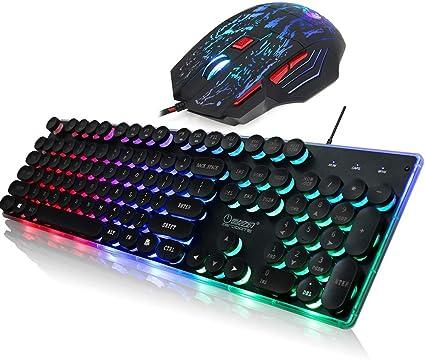 ANRIYA Cableado Juego Teclado ratón Combo, Rainbow Retroiluminación Luz ergonómica Teclado de Ordenador Ratones Conjunto con 5 Niveles Ajustables para ...