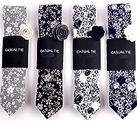 Xiessi Men's 100% Cotton Handmade Printed Floral Tie Wedding Skinny Neckties