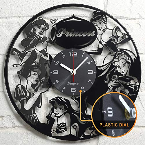 (Disney Princess Wall Clock Vinyl Walt Disney Princess Gifts Girls Adult Cinderella Belle Ariel Jasmine Snow White Wall Decor Art Clock - Disney Princess Gift Idea - Disney Princess Wall Decor - Black)