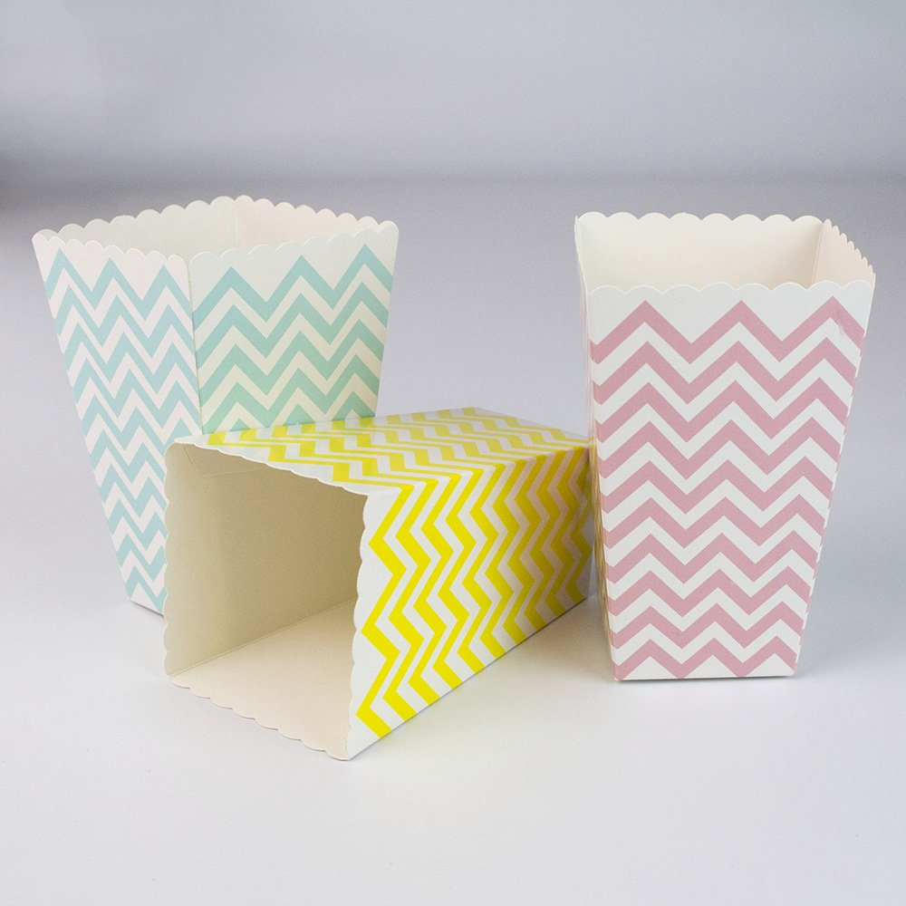 YouMeBest Blue Pink Yellow Chevron Paper Popcorn Boxes, Popcorn Paper bags, treat boxes for Kids for Movie Nights Party 36 PCS