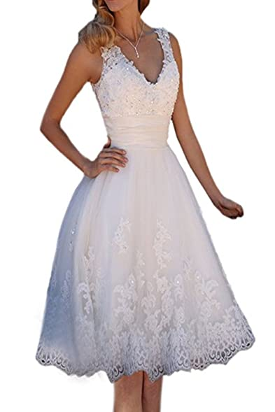 Yahmet Line Tulle Lace Wedding Dresses Short Prom Gown Knee Length Ivory 2