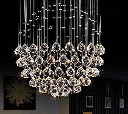 Fushing 20pcs Crystal Glass Ball Chandelier Prisms Pendants Parts Beads (30mm, Clear)