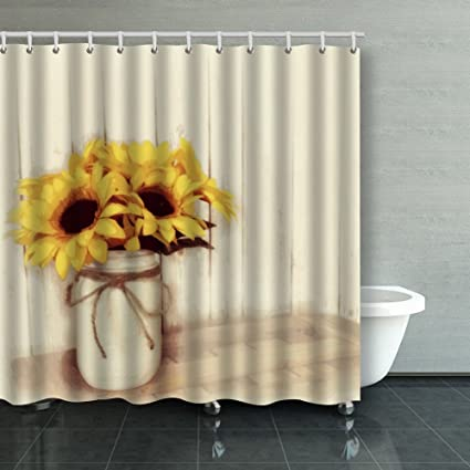 Family Unique Decorative Custom Xmas Shower Curtains Rustic Country  Sunflowers Mason Jar Waterproof Polyester Fabric Home