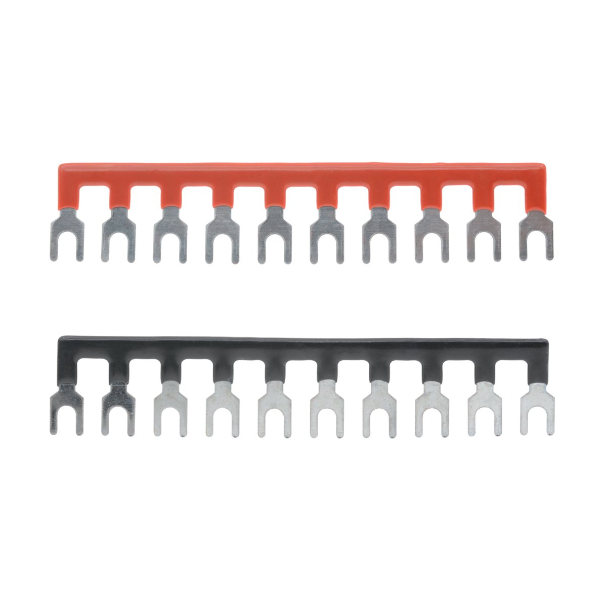 Black Red Fork Type Jumper Strip YXQ 600V 25A 3 Positions Double Row Screw Terminal Barrier Strip Block and 25A 3 Positions Pre-Insulated 5+5