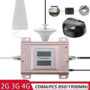 Signal Booster, KKmoon CDMA/PCS 850/1900MHz 2G/3G/4G Dual Band Dual LCD Display Mobile Phone Signal Booster Cell Phone Signal Repeater Signal Amplifier Set