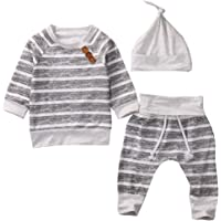 Aliven Newborn Infant Baby Boy Girl Striped Tops + Pants + Hat Outifits Suit Set Clothes Clothing
