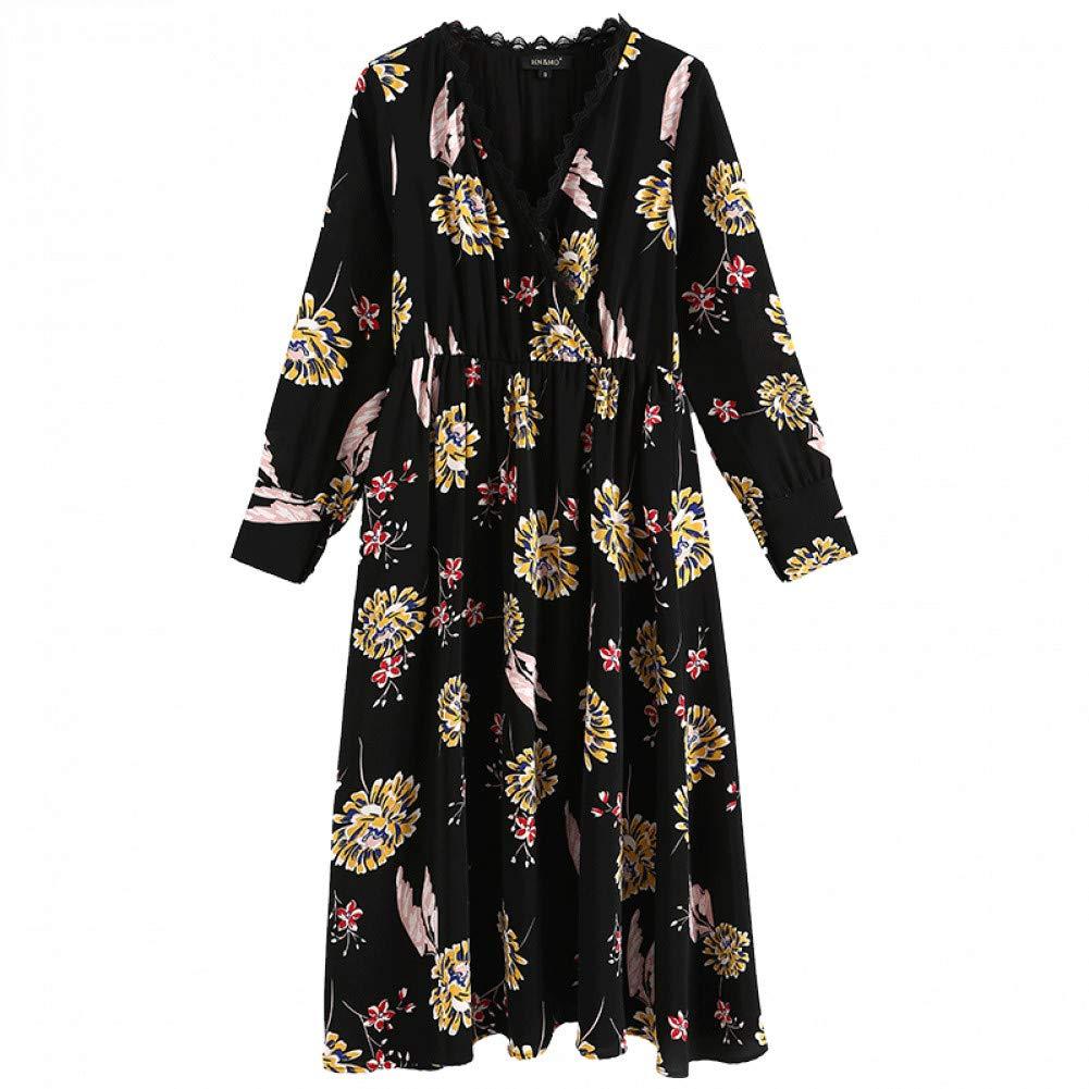 L BINGQZ Black dress female autumn new women's ladies temperament fashion long long sleeve floral skirt
