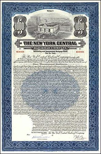 1921 SUPERB $1000 NEW YORK CENTRAL RAILROAD BOND w GRAND CENTRAL STATION + FULL SHEET OF COUPONS (BLUE OR GREEN) $1000 Crisp Extra Fine