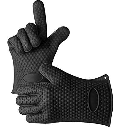 Coohole New Kitchen Heat Resistant Silicone Glove Oven Pot Holder Baking BBQ Cooking Mitt (Black)