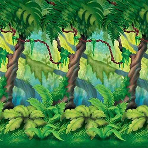 Jungle Trees Backdrop Party Accessory (1 count) (Jungle Trees Backdrop)