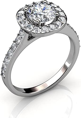 Cate & Chloe Celeste 18k White Gold Ring with Swarovski Crystal, Solitaire  Round Cut Solitaire Diamond Sparkling Silver Crystal Ring, Wedding ...