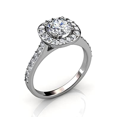 d4db11a49 ... Chloe Celeste 18k White Gold Ring with Swarovski Crystal, Solitaire  Round Cut Solitaire Diamond Sparkling Silver Crystal Ring, Wedding  Anniversary Rings