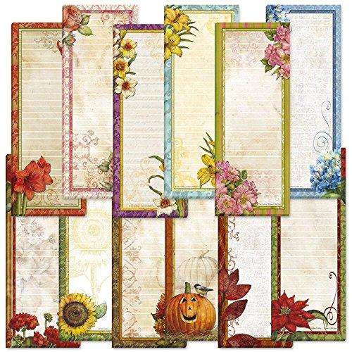 Seasonal Lined Magnetic Shopping List Pads - Set of 12 (1 of each holiday/seasonal design) 30 sheets/pad, Small memo pads: 2-1/2