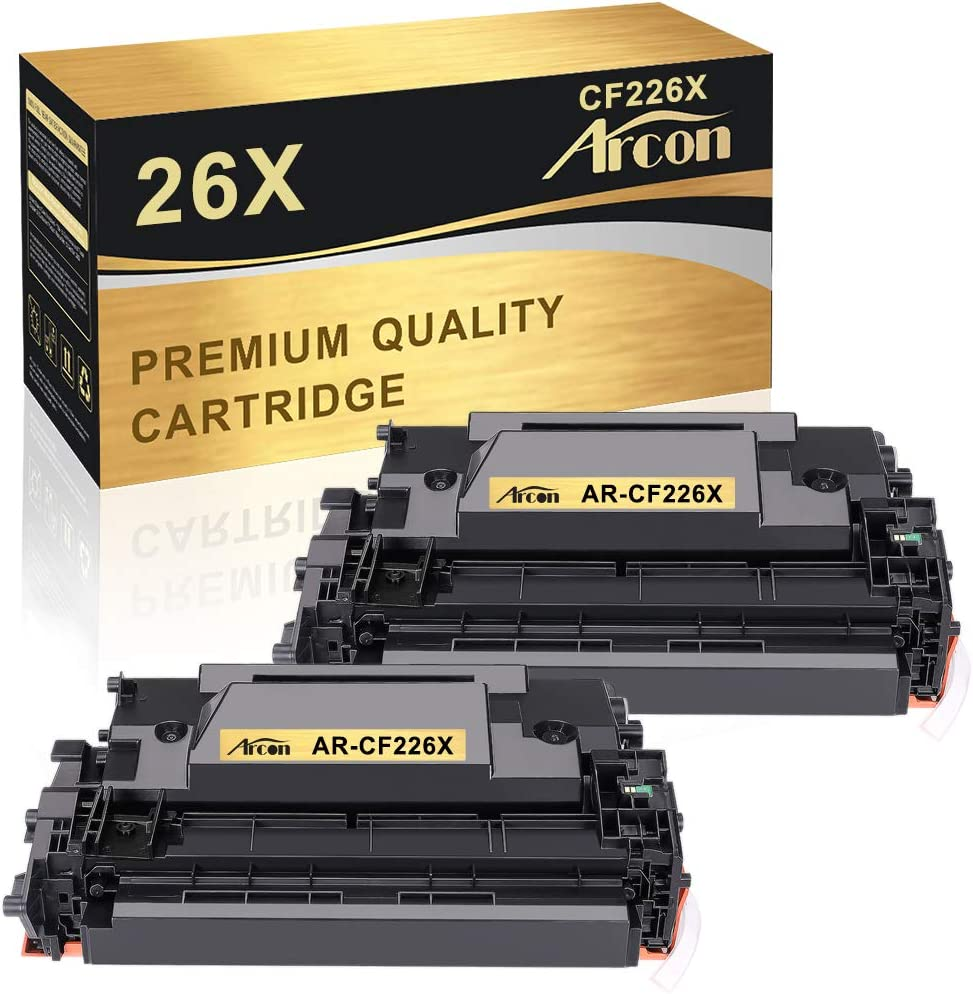 Arcon Compatible Toner Cartridge Replacement for HP 26X 26A CF226A CF226X HP Laserjet Pro MFP M426fdw M402n M402dn M402dw M426fdn M426dw Printer HP 26A CF226A 26X CF226X Black Toner Cartridge 2 Pack