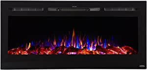 Touchstone 80025 - Sideline Electric Fireplace - 45 Inch Wide - in Wall Recessed - 5 Flame Settings - Realistic 3 Color Flame - 1500/750 Watt Heater - (Black) - Log & Crystal Hearth Options