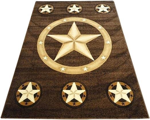 Texas Lone Star Area Rug Skinz Design 78 Chocolate Brown 8 Feet X 10 Feet