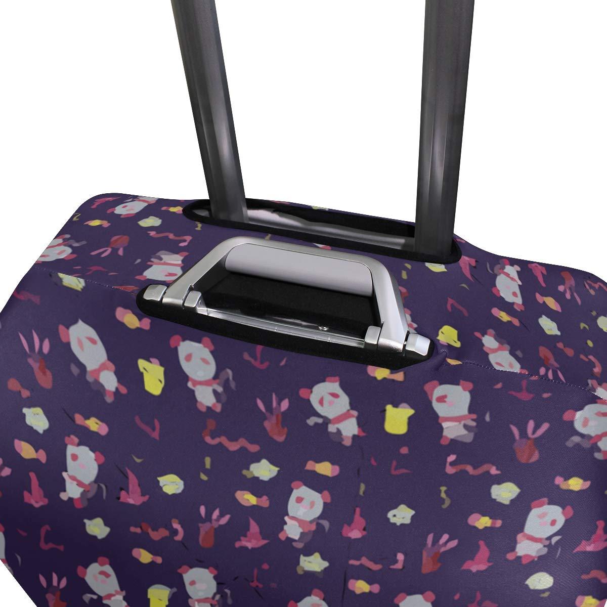 Panda In Fishing Purple Travel Suitcase Protector Zipper Suitcase Cover Elastic