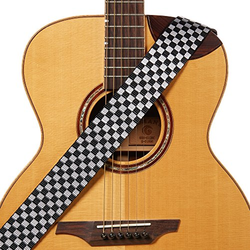 (Amumu Checkered Guitar Strap Black Silver Nylon for Acoustic, Electric and Bass Guitars - 2