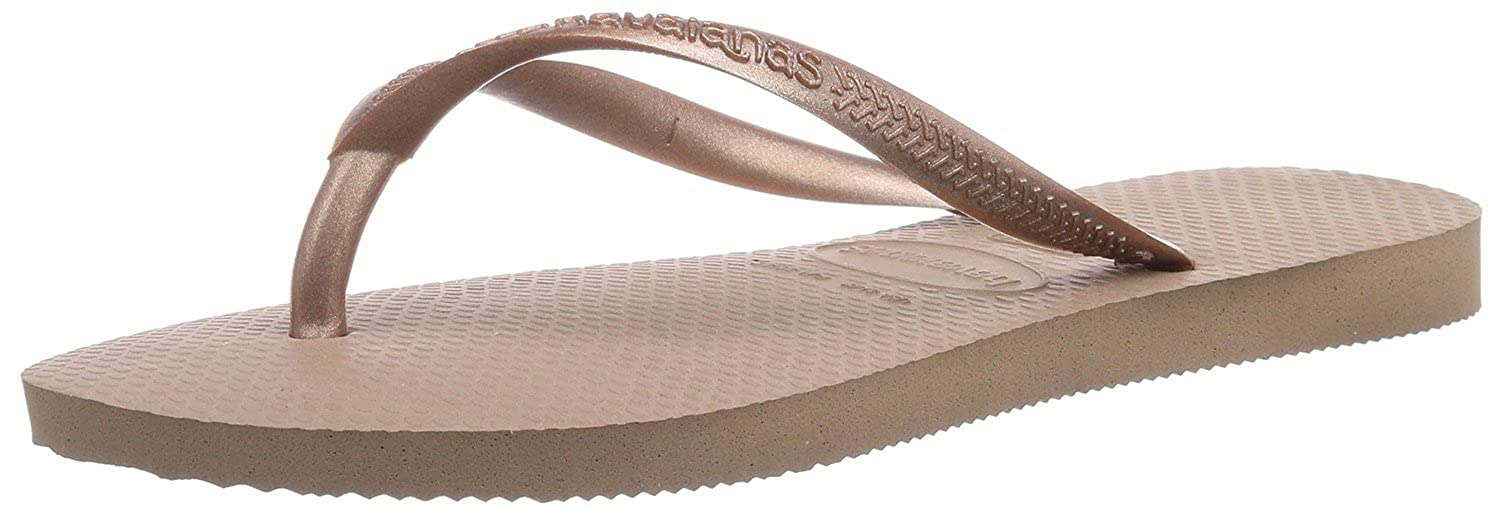 5658bcc632f52 NEW HAVAIANAS WOMEN S Slim Flip Flops Sandals Rose Gold (UK 3-4   EU 35-36