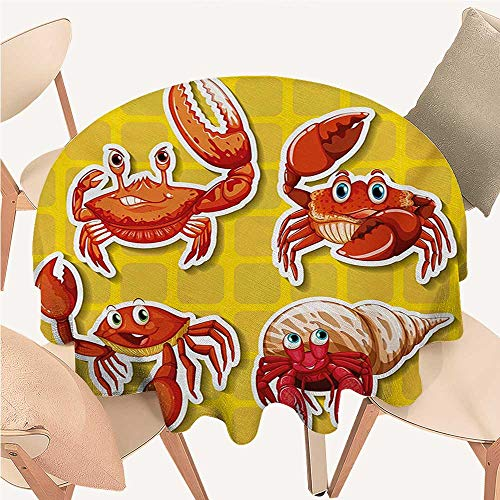cobeDecor Crabs Tassel Tablecloth Stickers of Four Different Crabs Illustration in Cartoon Style Print Round Tablecloth D 50