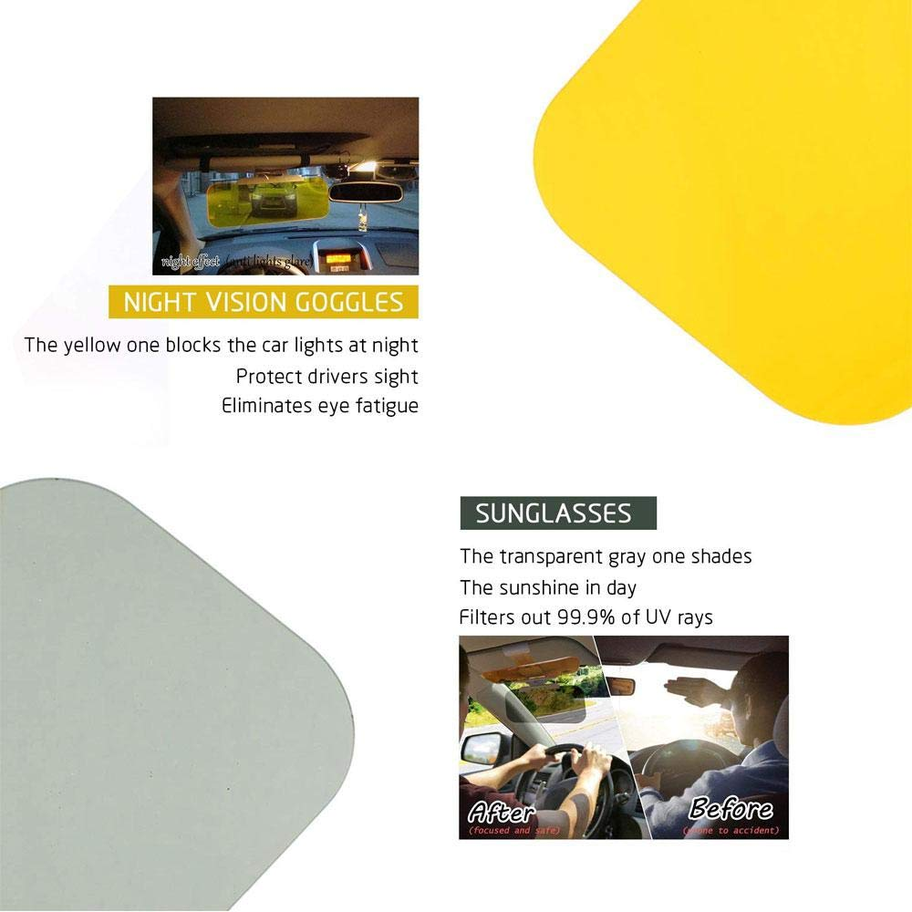 2-in-1 Anti-Glare Mirror for Day and Night 2019 Updated Pawaca Universal Windshield Driving Visor with 2 Pack Car Window Curtains Car Sun Visor