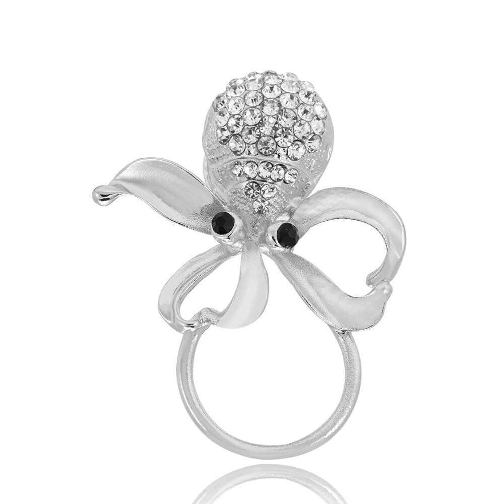 GUANDU Nautical Octopus Crystal Magnetic Eyeglass Holder for Unisex Gifts (Silver)