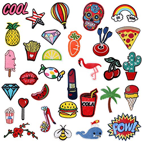 Best Buy! Iron On Patches 32 Pcs – Embroidered Patches Appliqué Motif Applique Kit Assorted Size Decoration Sew On Patches for Jackets, Backpacks, Jeans, Clothes