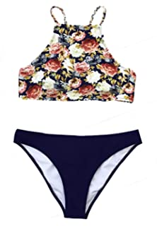 46a8601ae0 Amazon.com: CUPSHE Women's Blooming Above Lace Halter Bikini Set ...