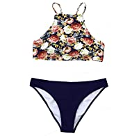 CUPSHE Women's Braided Straps High Neck Bikini Sets Floral and Navy Color