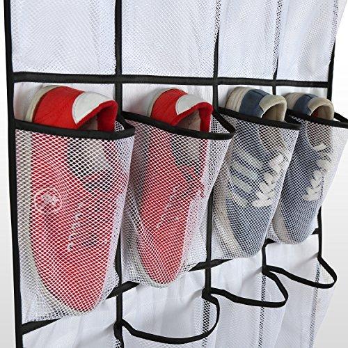 Brotrade Oxford Over the Door Shoe Organizer 24 Large Mesh Pockets,Heavy Duty Door Shoe Rack with 4 Steel Door Hooks,58.5''x 23'' (White)