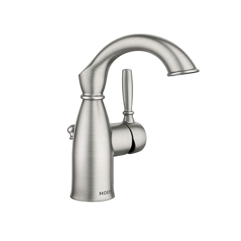 Moen 84144SRN Sarona One-Handle Single Hole Rustic Farmhouse Bathroom Sink Faucet with Optional Deckplate, Spot Resist Brushed Nickel