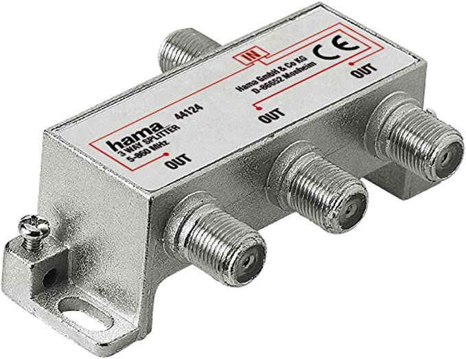 Hama - CATV Splitter, 3 Way, CATV, F-Couling, 3 x F-Couling, Plata