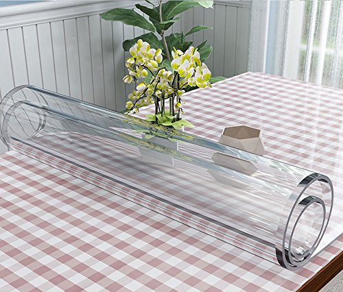 VALLEY TREE Clear Table Cover Protector 1.5mm Thick PVC Soft Glass Transparent Dining Table Pad for Wooden, Glass, Marble Table/Desk
