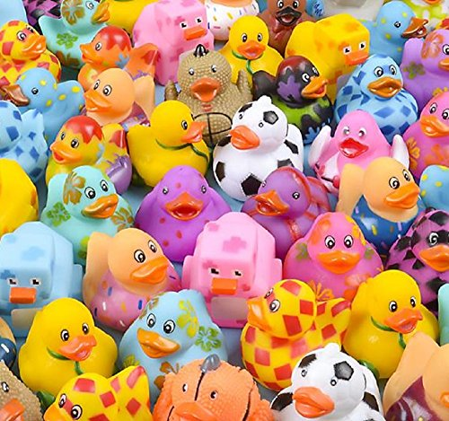 EASTER BASKET FILLERS, 50PC ASSORTED RUBBER DUCKIES, A fun prize for carnival winners. This collection of rubber ducks features a wide variety of colors and designs. Assortments may vary. 50 ducks per bag.
