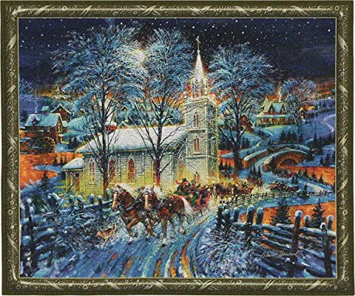 Midnight Clear Woven Tapestry Wall Art Hanging Snowy Church Steeple Festive Holiday Decor 100 Cotton USA Size 53×43