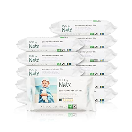 Naty By Nature Babycare - Sensitive Wipes - Toallitas húmedas con Aloe Vera - 12 x