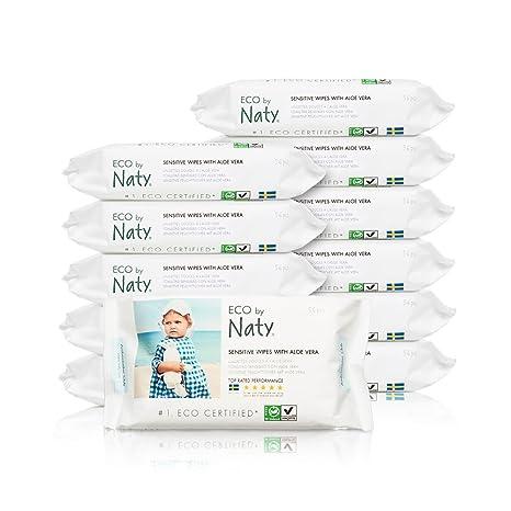 Naty By Nature Babycare - Sensitive Wipes - Toallitas húmedas con Aloe Vera - 12 x