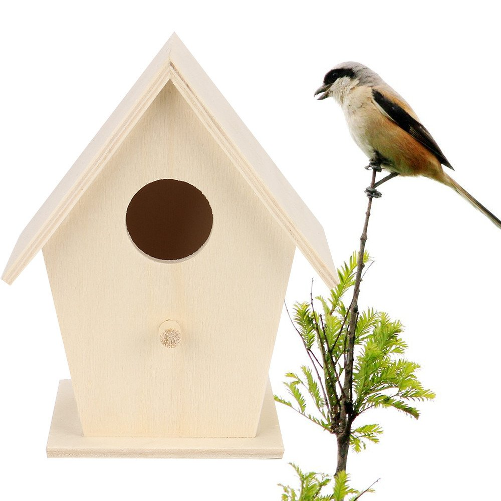 MOVEmen Creative Garden Art Decoration Nest Bird House Bird Box Wooden Box Rest Place Placed Under The Family Entrance Tree in The Garden Room Window to Beautify Your Garden Charm