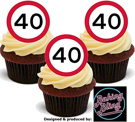 40th BLACK /& SILVER BIRTHDAY EDIBLE CAKE /& CUPCAKE TOPPER WAFER PAPER//ICING