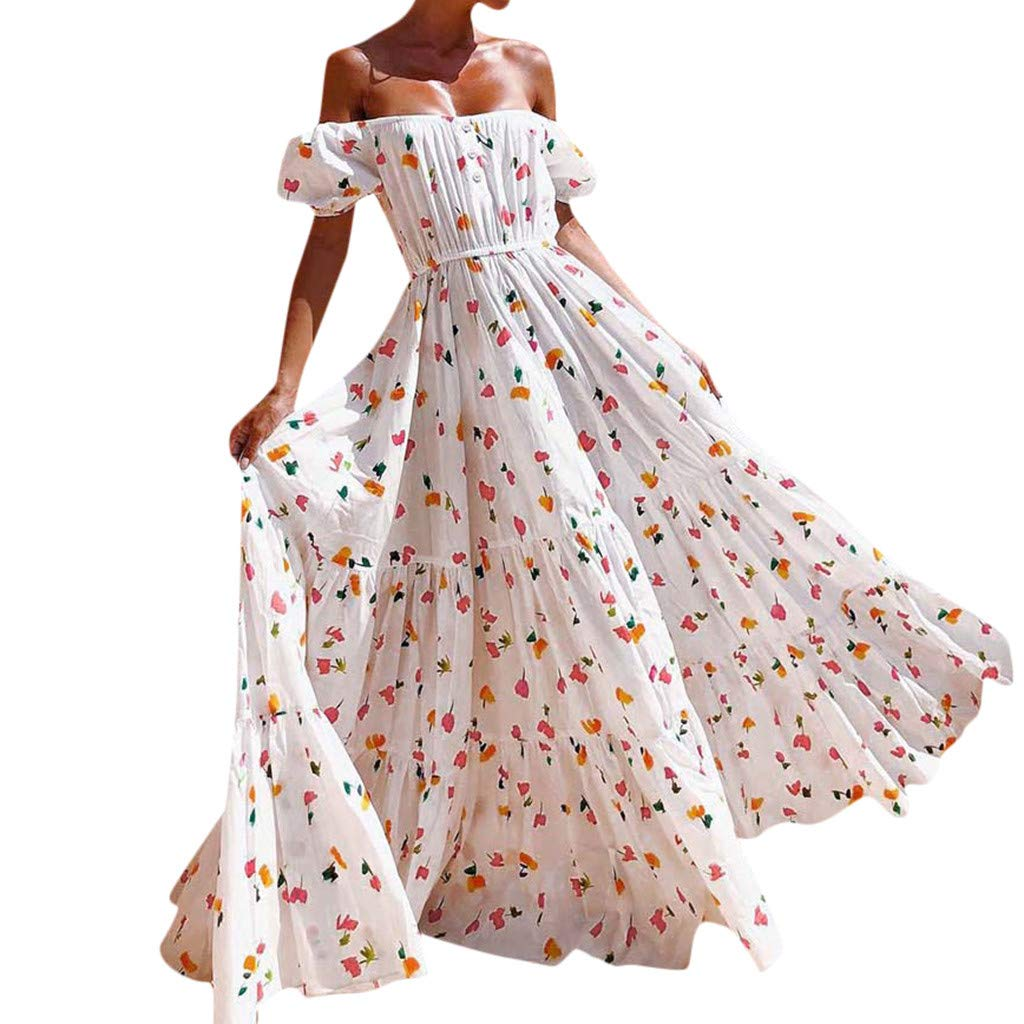 Snowfoller Vintage Square Collar Long Dress Summer Women Off Shoulder Floral Printed Beach Holiday Party Dress