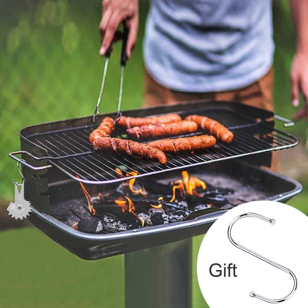 Stainless Steel BBQ Grill Scraper with Handle Effective Cleaning of BBQ Grate Grills with Bottle Opener and Griddle Cleaner Include S-Hook - Safer Than a Wire Brush Silver