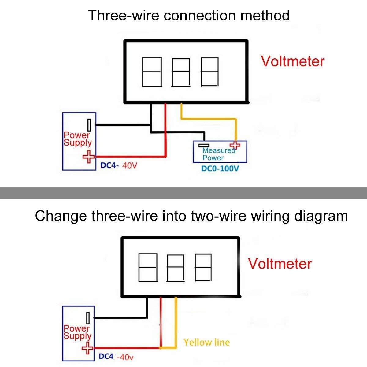 5 Pcs Mini Digital Voltmeter DC, Three-Line DC 0-100V Mini Digital Wiring Voltmeter on