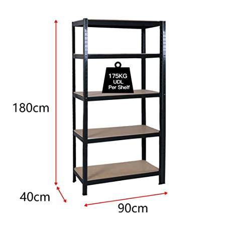 180x90x40cm 5 Tier Garage Shelving Storage Unit Heavy Duty Racking Shed  Office Utility Room Warehouse Shelves