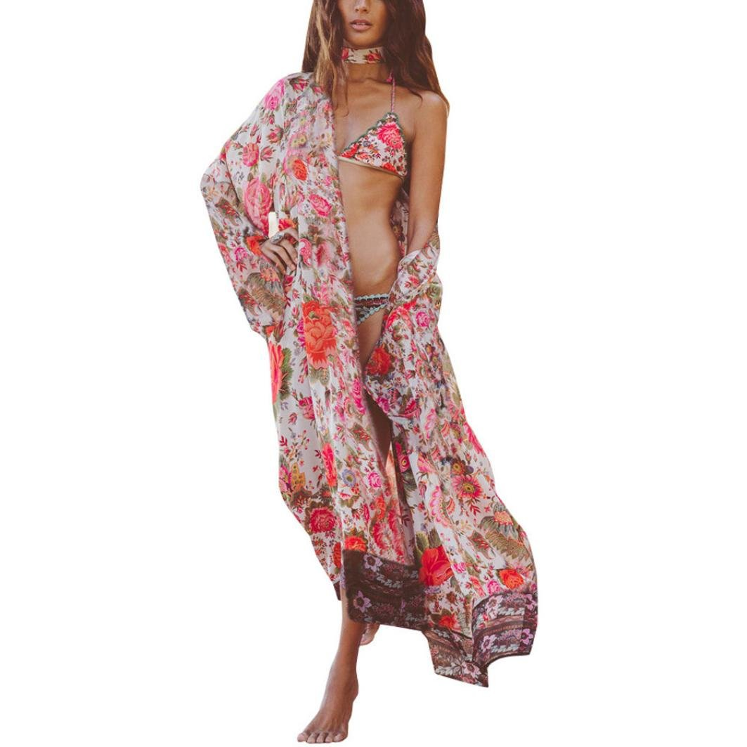Koly mujeres Boho print floral de kimono suelto chal Cardigan Top cover up blusa (XXXL)