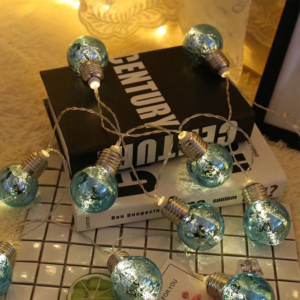LED Fairy String Lights, LED Ball String Lights, Indoor Outdoor Xmas Lights Globe Fairy String Lights Starry Lights, for Garden, Home, Wedding 1.5/2/3/5m(1.5m 10 Bulbs,Colorful Light+blue Bulbs) by Ragdoll50 (Image #7)