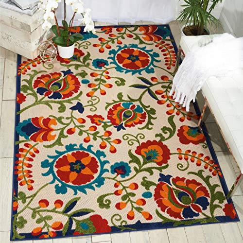 5'3 x 7'5 Indoor Outdoor Floral Multi Color Red Orange Area Rug, Polypropylene Hippy Hippie Vibrant Unique Patterned Tropical Abstract Paisley Nature, Rectangle Living Room Deck Patio Accent Carpet