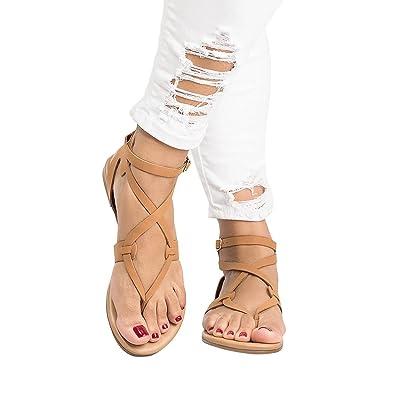 gracosy Damen Sandalen, Zehentrenner Strand Schuhe Pantolette Riemchensandalen Bohemia Sommerschuhe Flache Schuhe Knöchel Gladiator Bequeme